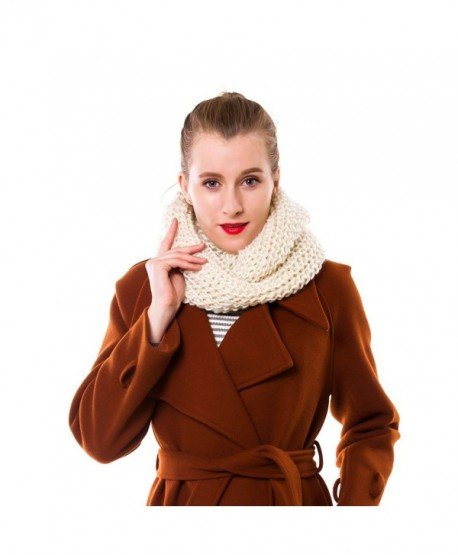 Nine City Womens Thick Ribbed Knit Winter Infinity Circle Loop Scarf - Beige - CB12OC08Z3Z