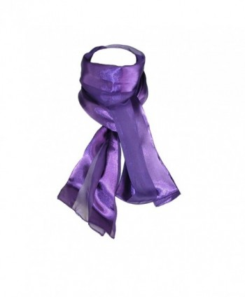 CTM Women's Long Satin Solid Color Scarf- Eggplant - C4115YK5P0N