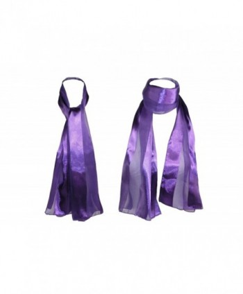 CTM Womens Satin Solid Eggplant in Fashion Scarves