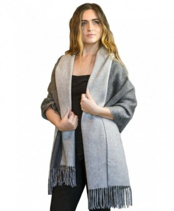 MoonCats Wool & Pure Cashmere Shawl Large Soft & Heavy Scarf Wrap & Plaid for women - Grey - CW12C38TFUJ