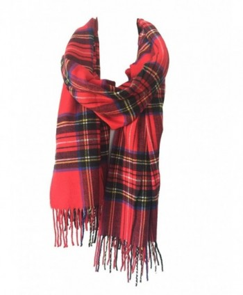 DRY77 Blanket Oversized Tartan Long Cashmere Feel Scarf Wrap Shawl Pashmina Women Men - Red - CB12N0HBMNM
