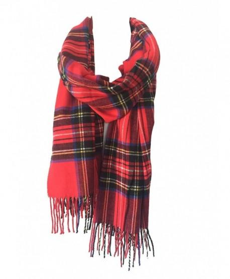 DRY77 Blanket Oversized Tartan Long Cashmere Feel Scarf Wrap Shawl Pashmina Women Men - Red - CB12N0HBMNM