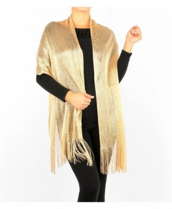 Women's Two Tone Modern Metallic Fishnet Acrylic Party Shawl Fringe Lurex Scarf - Gold/Gold - CX121DFQNOJ