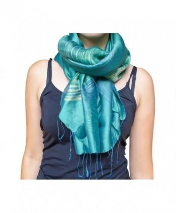 Unique Wrappable Silk Scarf. Handmade Blue Silk Scarves Wrap - Peacock - CI12MEKJ7RR