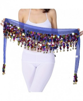 ZLTdream Belly Dance Hip Scarf With Film Gong & Coins Chiffon - Dark Blue - CE12J1YYIRN