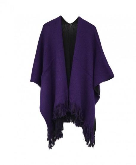 Kocome Women Blanket Oversized Scarf Wrap Long Knit Shawl Poncho Tassel Fringe - Black+purple - C612O2RGRED