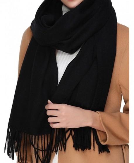 e94bf0bf0 Cashmere Wool Scarf-Large Soft Women Men Scarves Winter Warm Shawl Gift -  Black - CJ1888G9A4I
