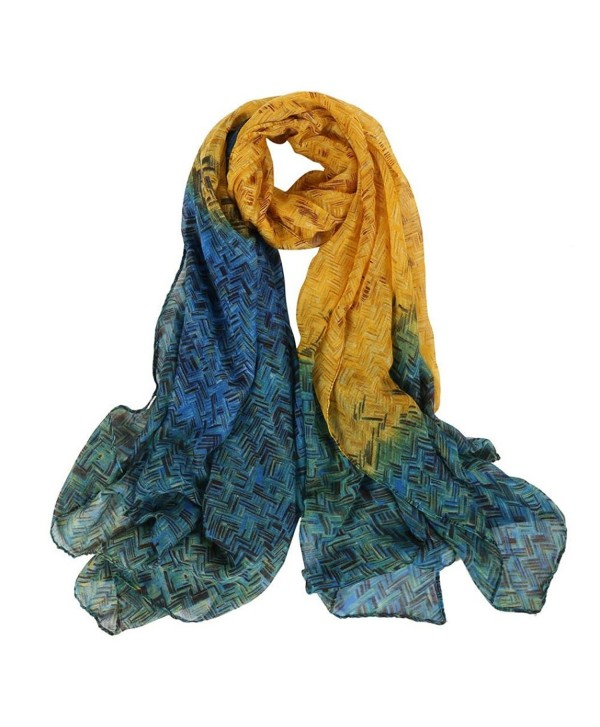 Amiley women scarfs - Mixed Color flowers Painting Infinity Scarf - Yellow - CR12O7MWNCZ