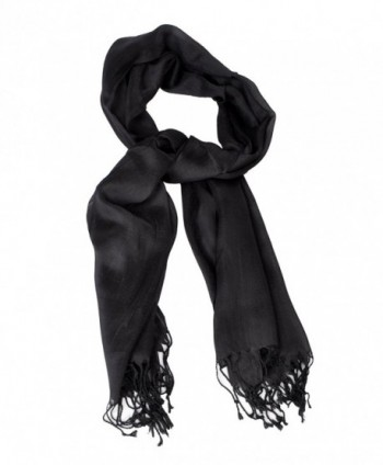 Ladies' Elegant Solid Color Viscose Scarves - Black - C3120SA0RN7
