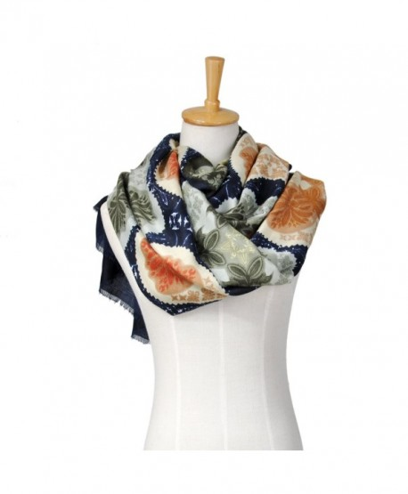 Lo Shokim Women's Fashion Floral Print Oblong Scarf With Fringe - Navy Blue - CY186300UZG