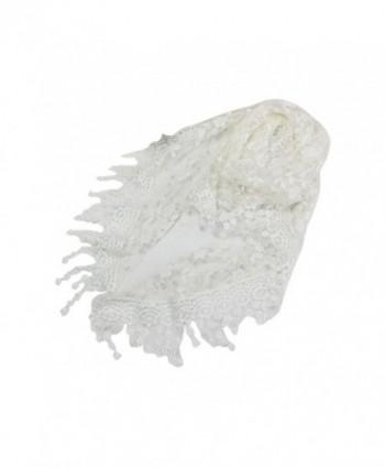 Lace Tassel Shawl- Misaky Sheer Burntout Floral Print Triangle Mantilla Scarf Shawl - White - C612L2QXL6H