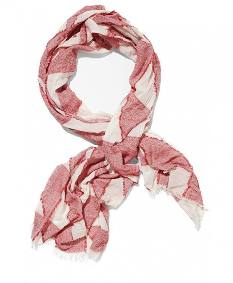 Ladies Cotton Scarf Lightweight Shawl Geometric Print Fashion Scarves For Women - White- Red - CP12NFDSEKG