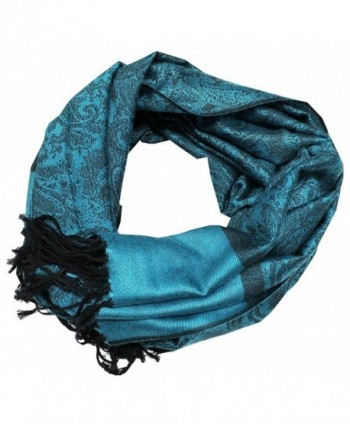 Paisley Men Women Fashion All Season Pashmina Silk Soft Warm Large Scarf Wrap Shawl - Peacock Blue Black - CJ1281BUNTT