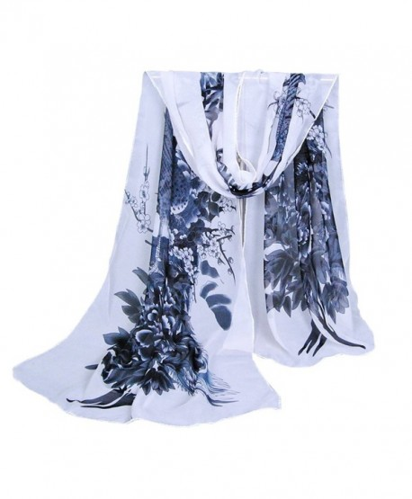 Herebuy - Unique Women's Floral Scarves: Chiffon Flowers & Birds Printed Scarf - Blackwhite - C5186R756WO