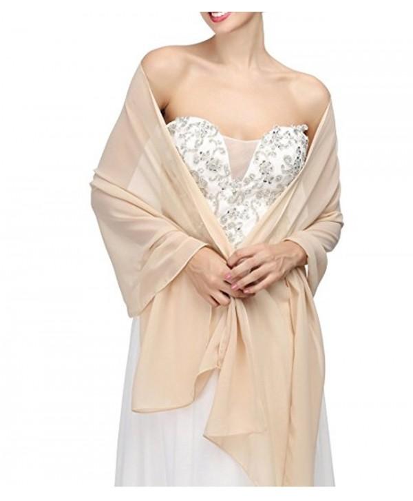macria Chiffon Bridal Wedding Shawl Wrap Women's Evening Dress Stole Scarves - Champagne - CV187DOIZD5