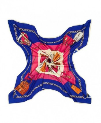 Promini Square Scarf Pattern Neckerchief - Royal Blue - CF182YDN3K0