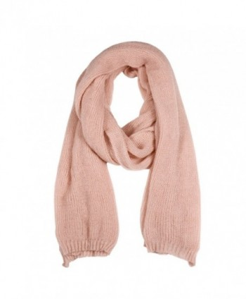 Winter Large Thick Knitted Scarf -RiscaWin Knit Wrap Chunky Warm Shawl Pure Color Long Scarf(Pink) - CN1850L4KHO