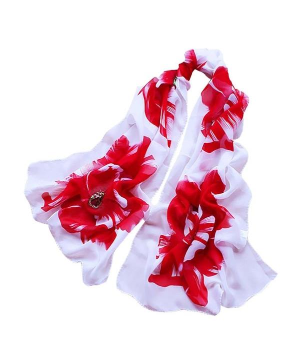 Gotd Women Soft Thin Chiffon Silk Scarf Flower printed Scarves Wrap Shawl - Red - C312J1YEVY3