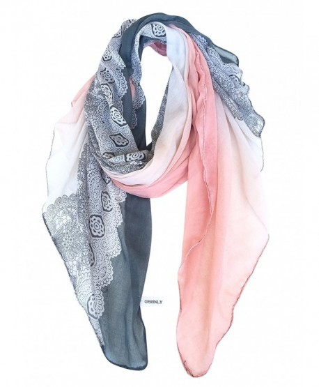 GERINLY Lightweight Scarves: Fashion Lace Print Shawl Wrap For Women - Grey+lightpink - C2126RVNHAV