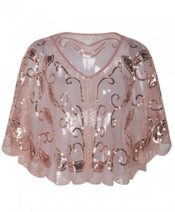 Kayamiya Women's Evening Shawl Wraps 1920s Sequin Beaded Cape Cover Up - Pink - CU180KD7MER