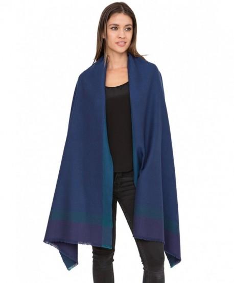 Herringbone Handwoven Textured Merino Wool Pashmina Scarf - Blue - CA12MZHS8LX