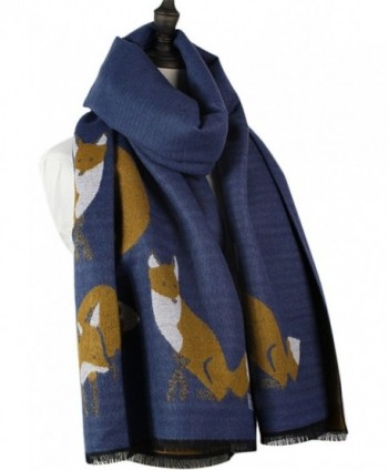 Winter Fashion Stylish Fringe Cartoon Small Fox Cashmere Feel Long Pashmina Scarf for Women - Navy - C918799G4G2