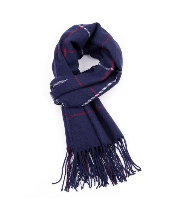 R.C.Y. Cashmere Feel Scarf Plaid Wrap Shawl Blanket - Navy - CT187MGI3X5