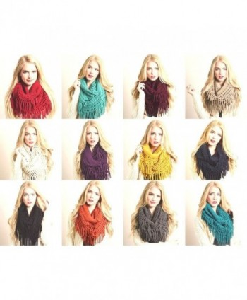Design Fringe Knitted Crochet Infinity in Fashion Scarves