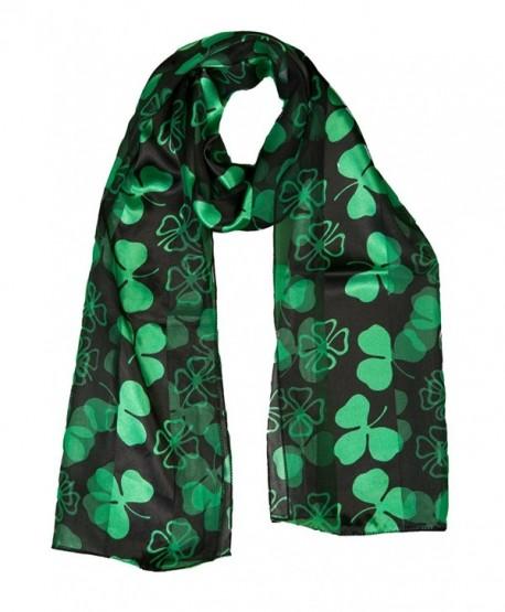 St. Patrick's Day Shamrock Print Scarf- Black - CX12D4CCYSX