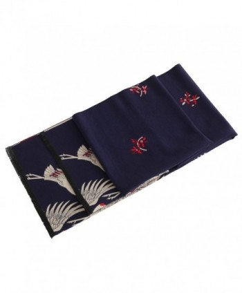 Women's Big Long Shawl Crane Pattern Japanese Winter Warm Scarf for Cold Weather - Navy Red - C01880965X3