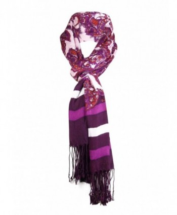 Jones New York Women's Striped Paisley Fringe Scarf - Pink - CX1266Y7QS9