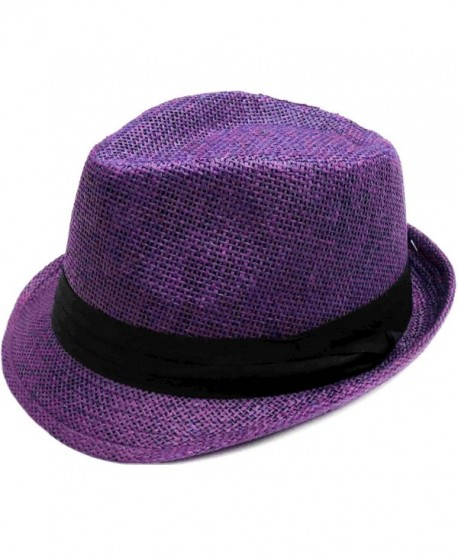 Livingston Unisex Summer Straw Structured Fedora Hat w/Cloth Band - Purple - CD189YRTMZO