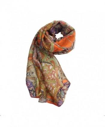 Baomabao Fashion Chiffon Printed Orange in Wraps & Pashminas
