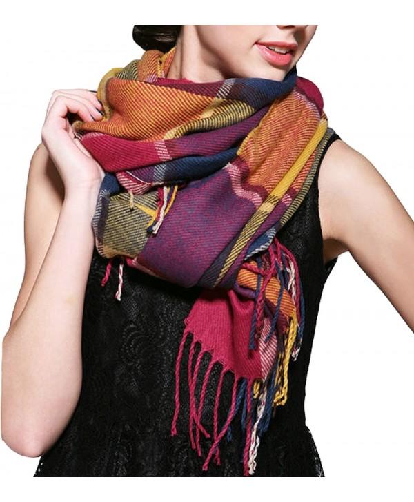 Wander Agio Women's Fashion Long Shawl Big Grid Winter Warm Lattice Large Scarf - Colour - CS12MO23M1H
