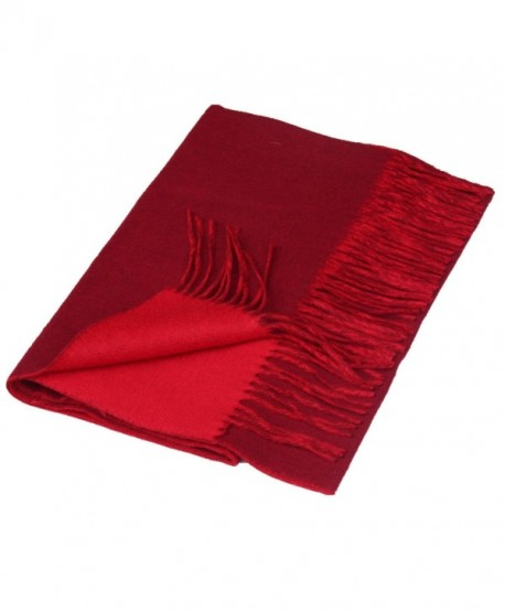 Saferin Women Men Cashmere & Lambwool Plaid Soft & Warm Scarf with Gift Box - Two Side-burgundy and Red - CS12O537D5K