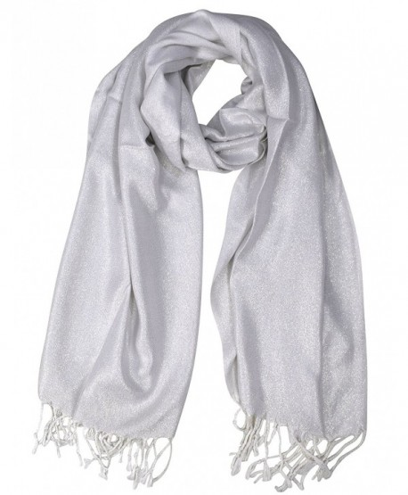 Peach Couture Princess Shimmer Scarf Pashmina Shawl with Fringes - White - C1186OSIMKN