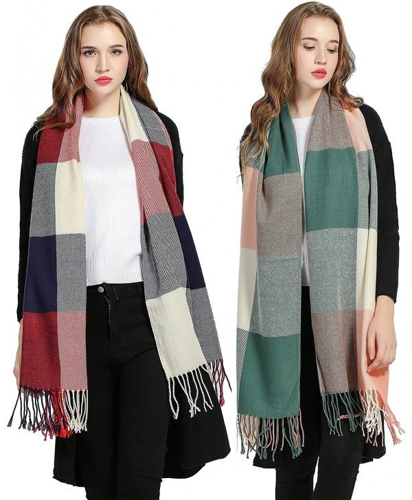 Luxina 2Pcs Large Tartan Scarf Plaid Blanket Shawl Winter Warm Pashmina for Women - A:2pcs- Red & Pink - C712MDQE5M9