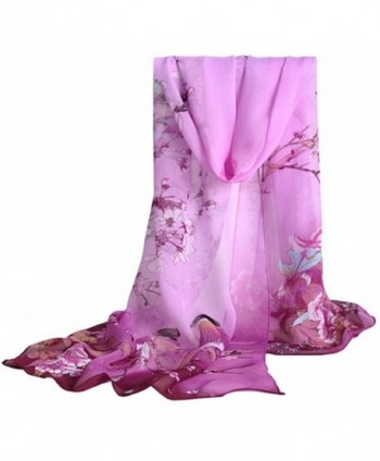 MEYKISS Women's Butterfly Print Light Sheer Voile Scarves Wrap Shawl - Bird Purple - C917Y4XC507