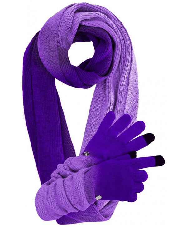 Knit Ombre Texting Gloves & Scarf Set - Purple - CE125BTO3L3