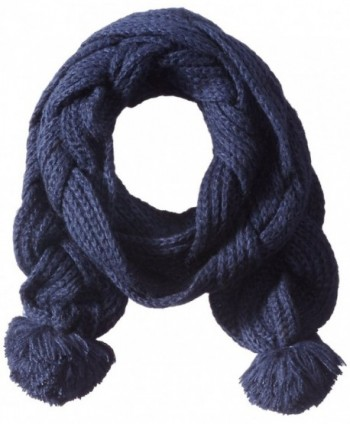 Sperry Top-Sider Women's Double Braided Scarf with Poms - Navy - C811GR1KJIB