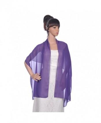 FTSOP Chiffon Bridal Shwals Women Wraps Evening Prom Dresses Scarf Bolero - Purple - CT183D5AKX2
