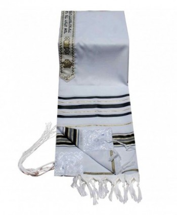 "Acrylic ''Temple Tallit''- Color Black / Gold 18"" X 72"" - CC115JVDRYN"