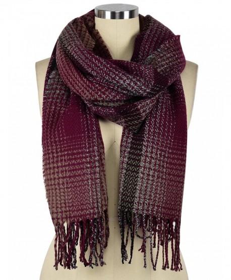 Ninovino Women's Fashion Long Shawl Tassels Soft Plaid Winter Blanket Scarf - Red - CM187R2C82E