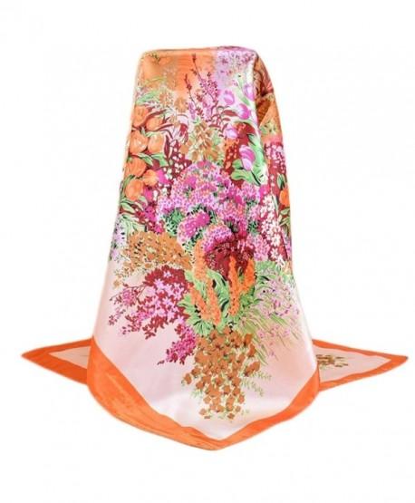 """Unique Premium Soft Silk Rayon 35""""35"""" Square Sheer Women's Floral Scarves - Orange - CG182Z0XGNZ"""