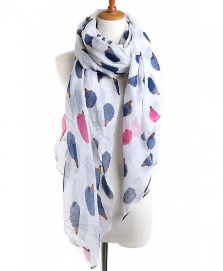 Sannea Womens Hedgehog Printed Fashion Silk Scarves Animal Printed Scarf for Girls - White - C3125X916CP