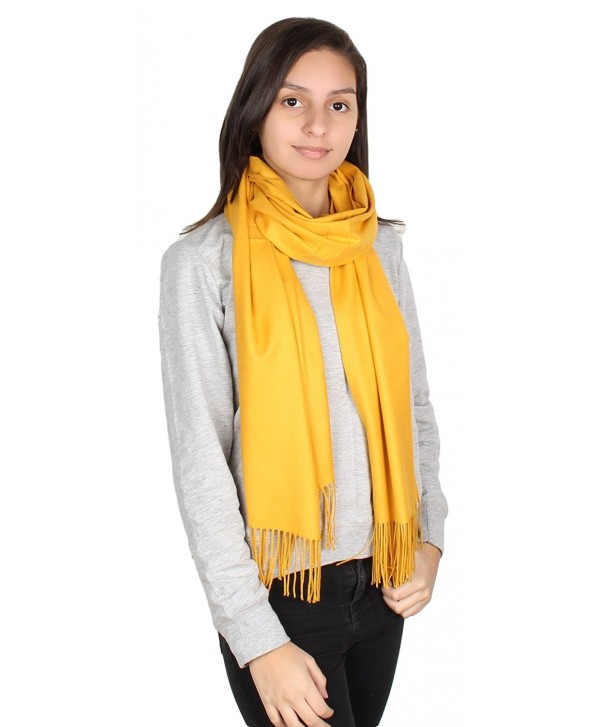 GILBIN'S Womens Solid Color Large Extra Soft Cashmere Blend Pashmina Shawl Wrap Scarf - Mustard - C5186GY9II7
