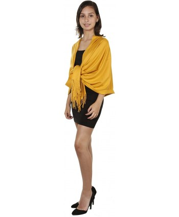GILBINS Womens Cashmere Pashmina Mustard
