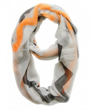 Peach Couture Modern Radiant Multicolored Chevron Geometric Infinity Loop Scarf - White/Orange/Black - CJ11J4QOD2J