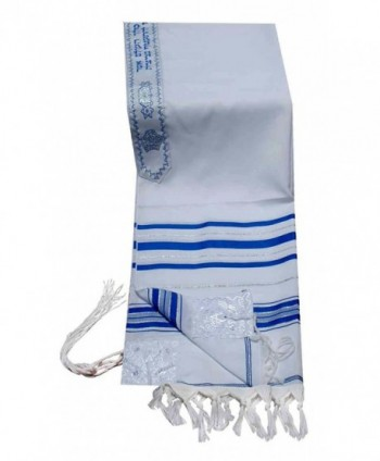 "Acrylic Tallit (imitation Wool) Prayer Shawl in Blue and Silver Size 24"" L X 72"" W - C31182BEDAN"