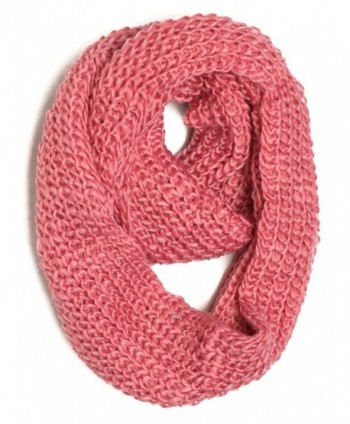 DRY77 Forever Chunky Thick Knitted Fashion Winter Eternity Infinity Loop Scarf - Pink - C511G1152QB